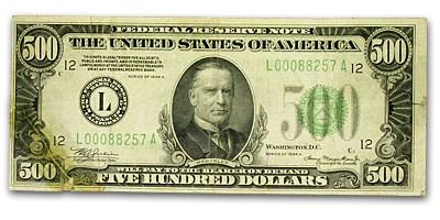 1934-A (L-San Francisco) $500 FRN VF (Fr#2202-L) Details