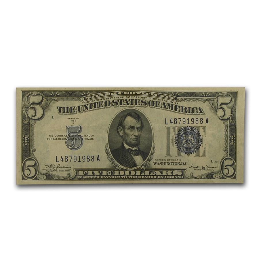 1934-B $5.00 Silver Certificate VF (Fr#1652)