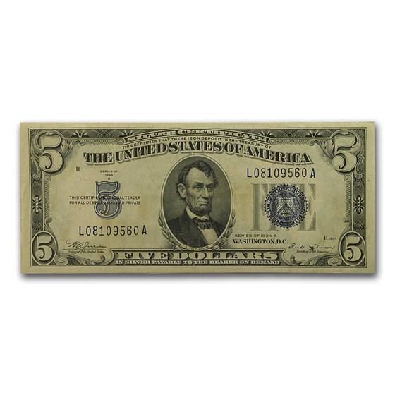 1934-B $5.00 Silver Certificate XF (Fr#1652)