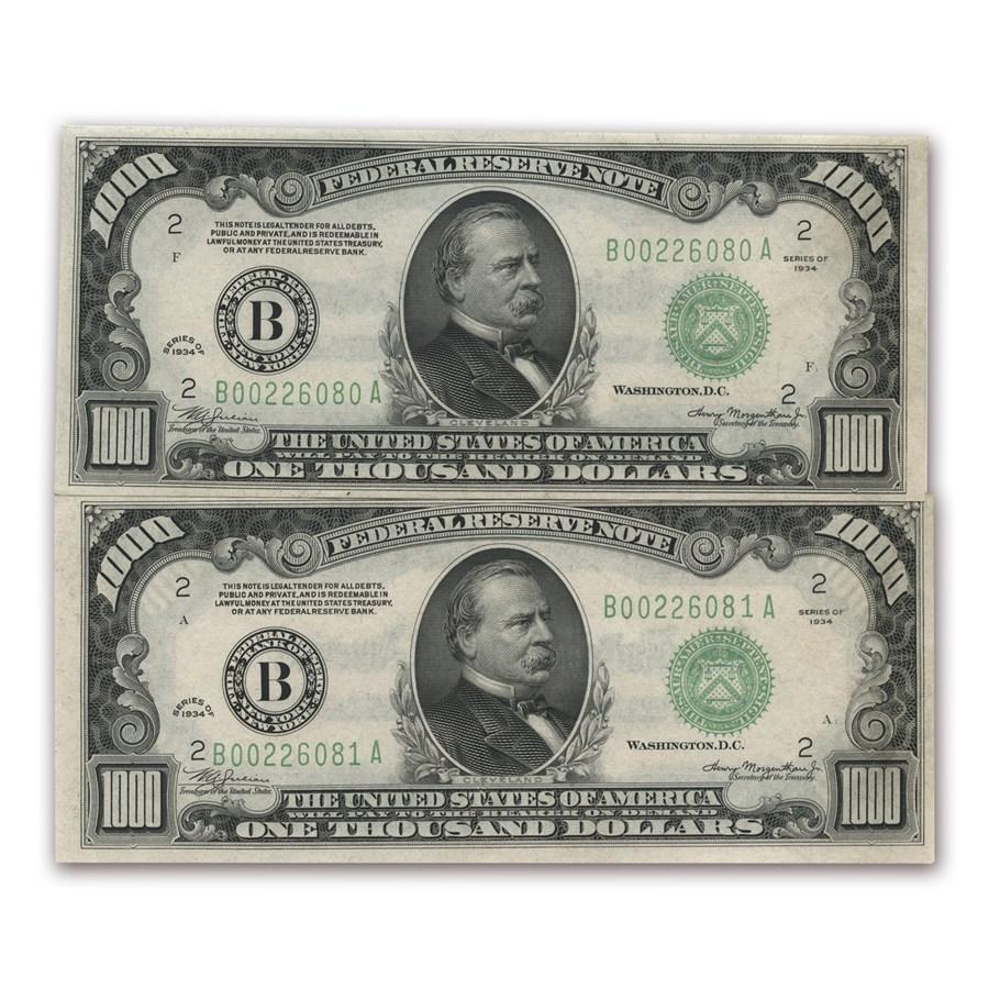 1934 (B-New York) $1,000 FRN CU (2 Consecutive Notes)