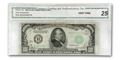 1934 (B-New York) $1,000 FRN VF-25 CGA