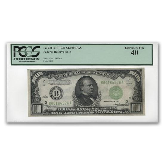 1934 (B-New York) $1,000 FRN XF-40 PCGS