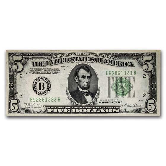 1934 (B-New York) $5.00 FRN CU (Fr#1955-B)