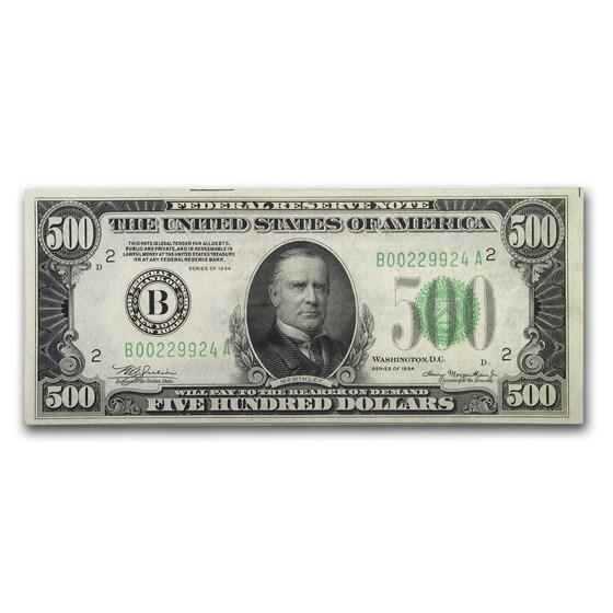 1934 (B-New York) $500 FRN Ch AU (Fr#2201-B)
