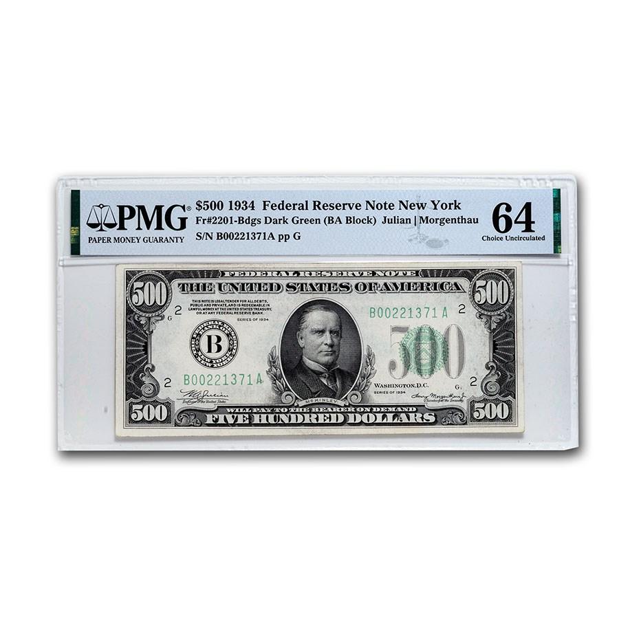 1934 (B-New York) $500 FRN Choice Unc-64 PMG