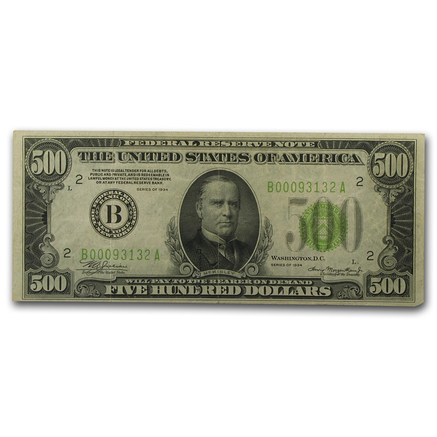 1934 (B-New York) $500 FRN VF (LGS, FR#2201)