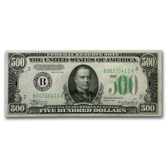 1934 (B-New York) $500 FRN XF+