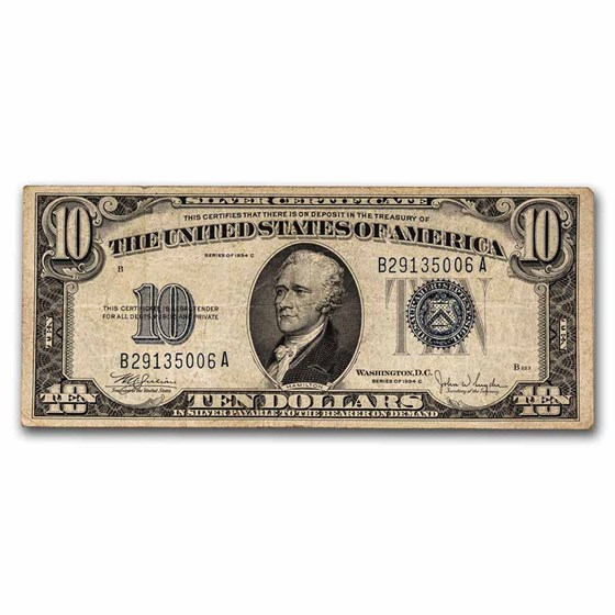 1934-C $10 Silver Certificate Fine (Fr#1704)
