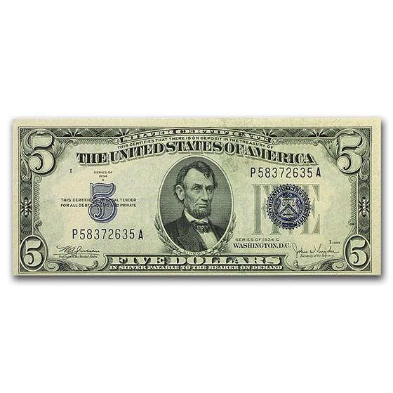 1934-C $5.00 Silver Certificate CU (Fr#1653) Wide Face