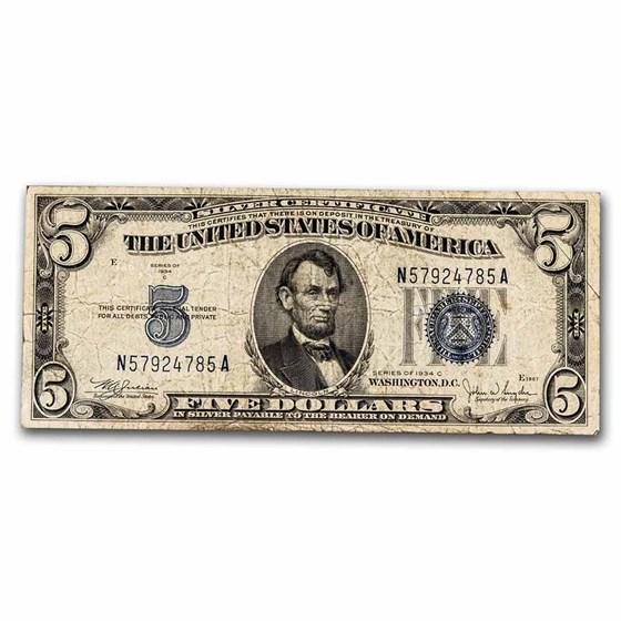 1934-C $5.00 Silver Certificate VG (Fr#1653)