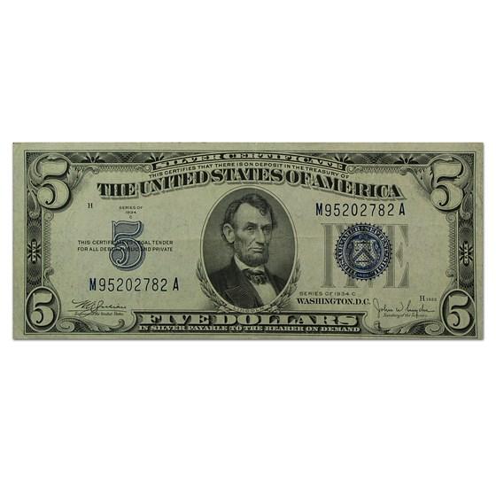 1934-C $5.00 Silver Certificate XF (Fr#1653)