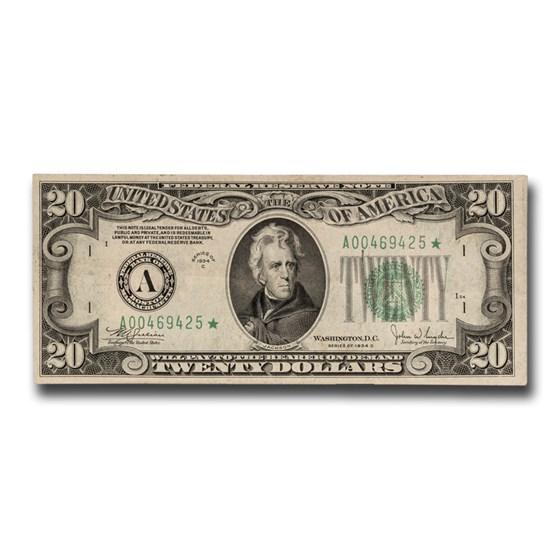 1934-C* (A-Boston) $20 FRN XF (Fr#2057-A*) Star Note