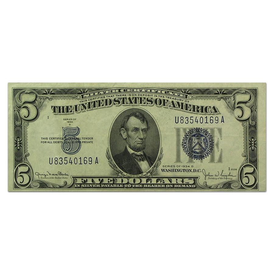 1934-C/D $5.00 Silver Certificate AU