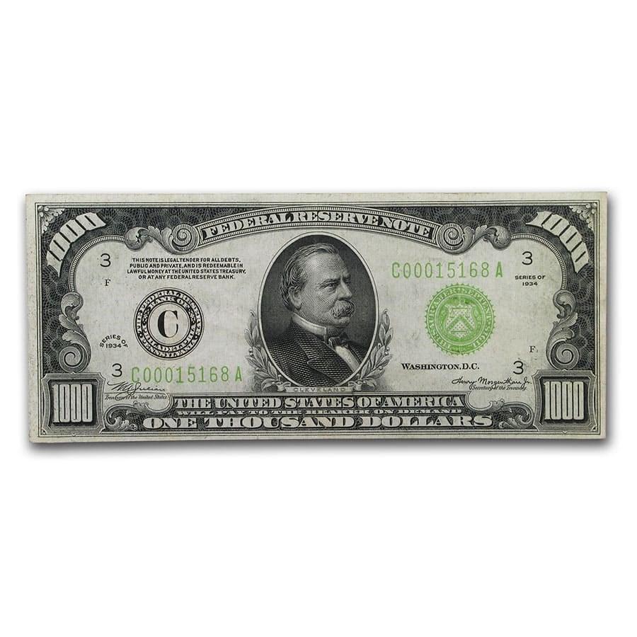 1934 (C-Philadelphia) $1,000 FRN XF (Fr#2211-C)