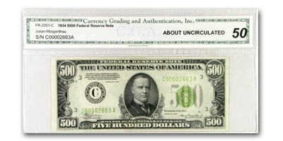 1934 (C-Philadelphia) $500 FRN AU-50 CGA