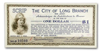 1934 City of Long Branch, NJ $1.00 Scrip Redeemed Unlisted