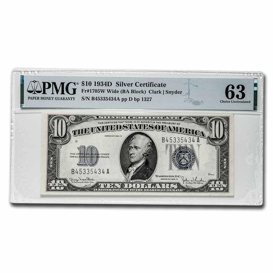 1934-D $10 Silver Certificate Gem CU-63 PMG (Fr#1705W) Wide