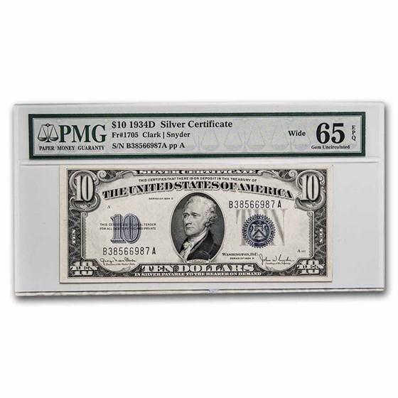 1934-D $10 Silver Certificate Gem CU-65 EPQ PMG (Fr#1705W) Wide
