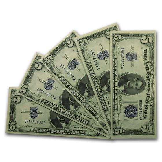 1934-D $5.00 CCU (Wide I, Set of 5 Notes)
