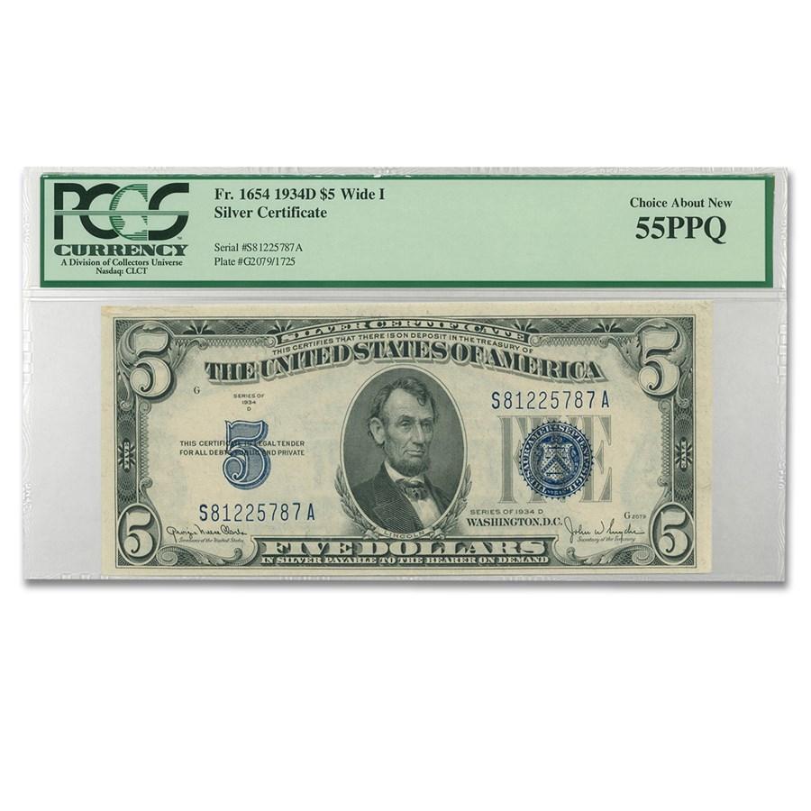 1934-D $5.00 Silver Certificate AU-55 PCGS (Wide I)