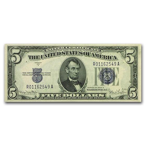 1934-D $5.00 Silver Certificate CCU (Fr#1654)