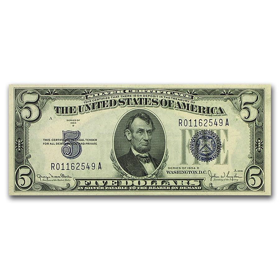 1934-D $5.00 Silver Certificate CCU (Wide I)