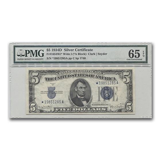 1934-D* $5.00 Silver Certificate Wide I, Gem Unc-65 PMG (Star)