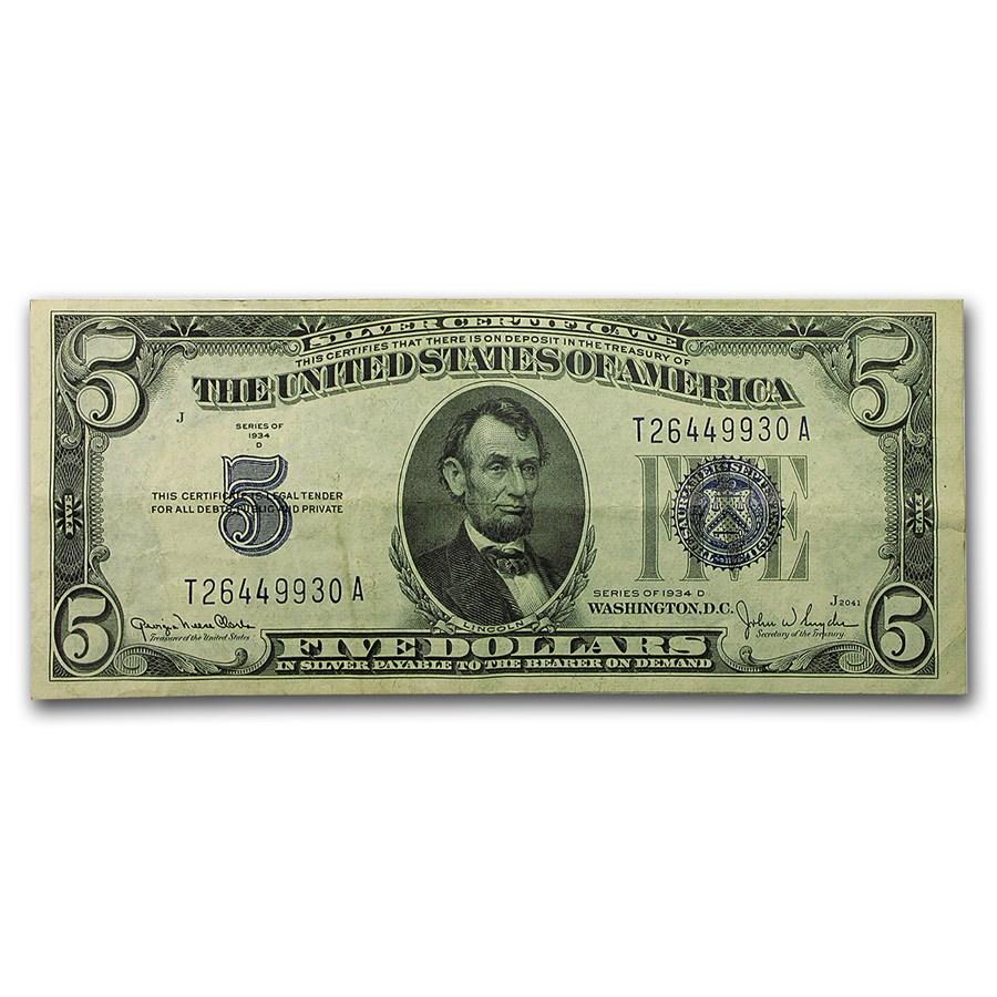 1934-D $5.00 Silver Certificate XF (Fr#1654)