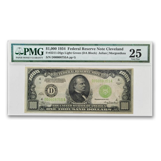 1934 (D-Cleveland) $1,000 FRN VF-25 PMG (LGS)