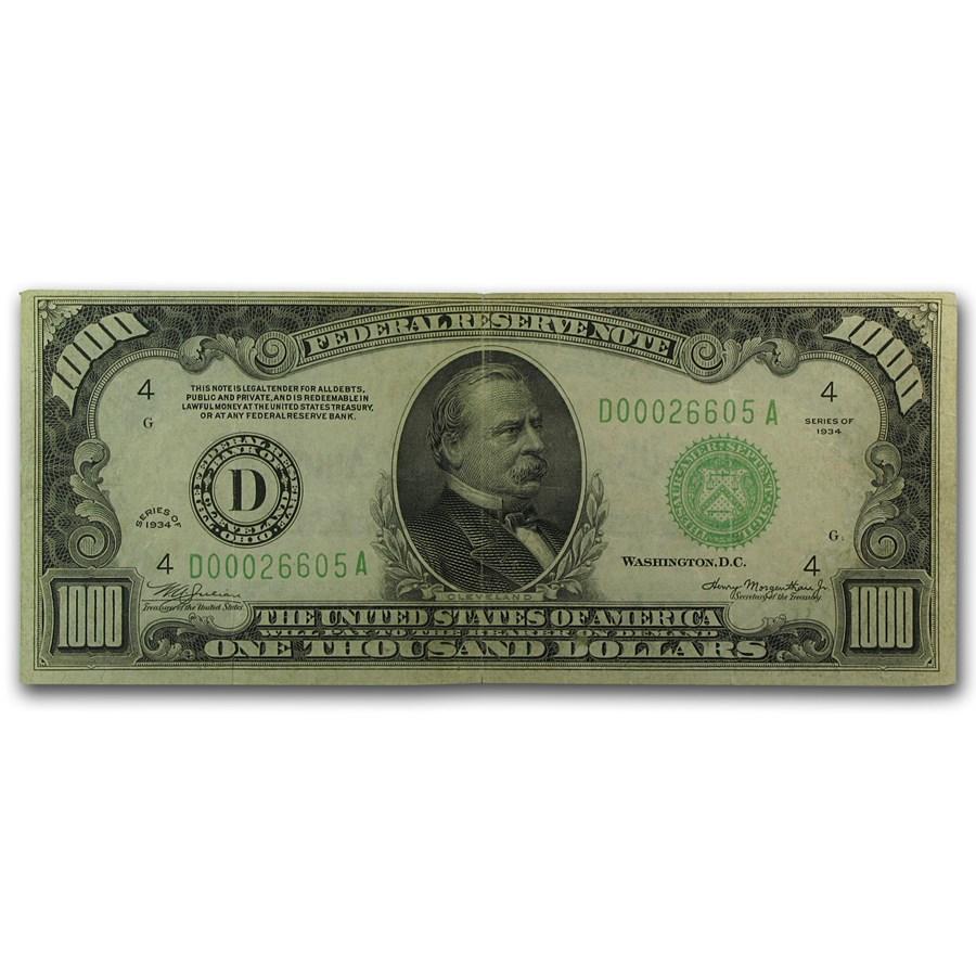 1934 (D-Cleveland) $1,000 FRN VF