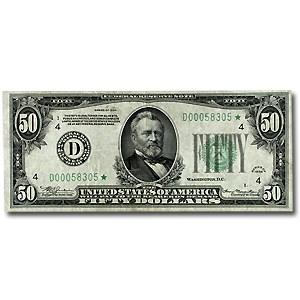 1934* (D-Cleveland) $50 FRN XF (Dark Green Seal, Star Note)