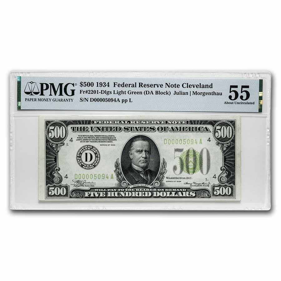 1934 (D-Cleveland) $500 FRN AU-55 PMG (Fr#2201-D) LGS