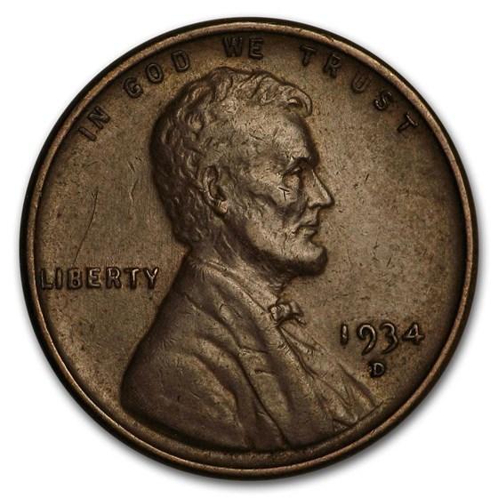 1934-D Lincoln Cent AU