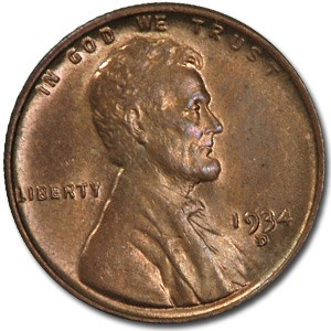 1934-D Lincoln Cent BU (Red/Brown)