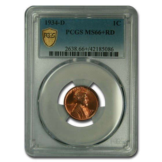 1934-D Lincoln Cent MS-66+ PCGS (Red)