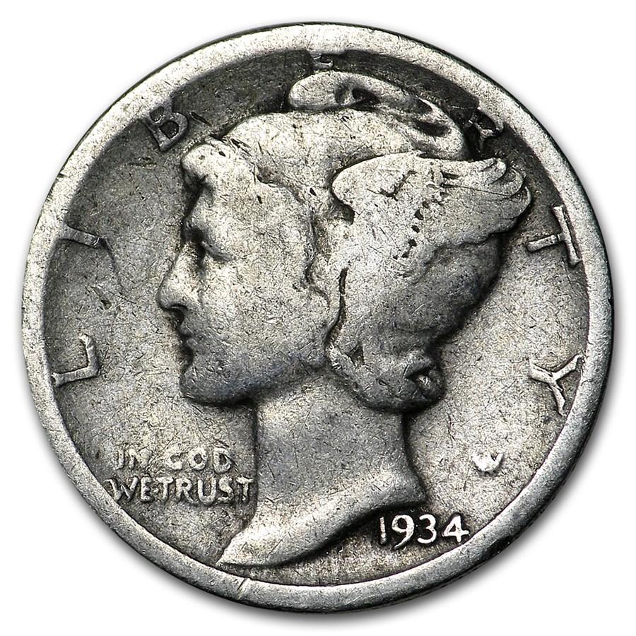 1934-D Mercury Dime Good/VF
