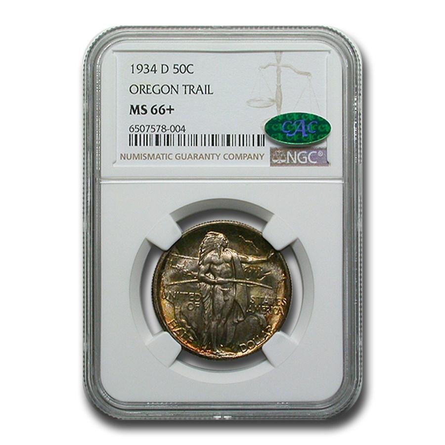 1934-D Oregon Trail Commemorative Half Dollar MS-66+ NGC CAC