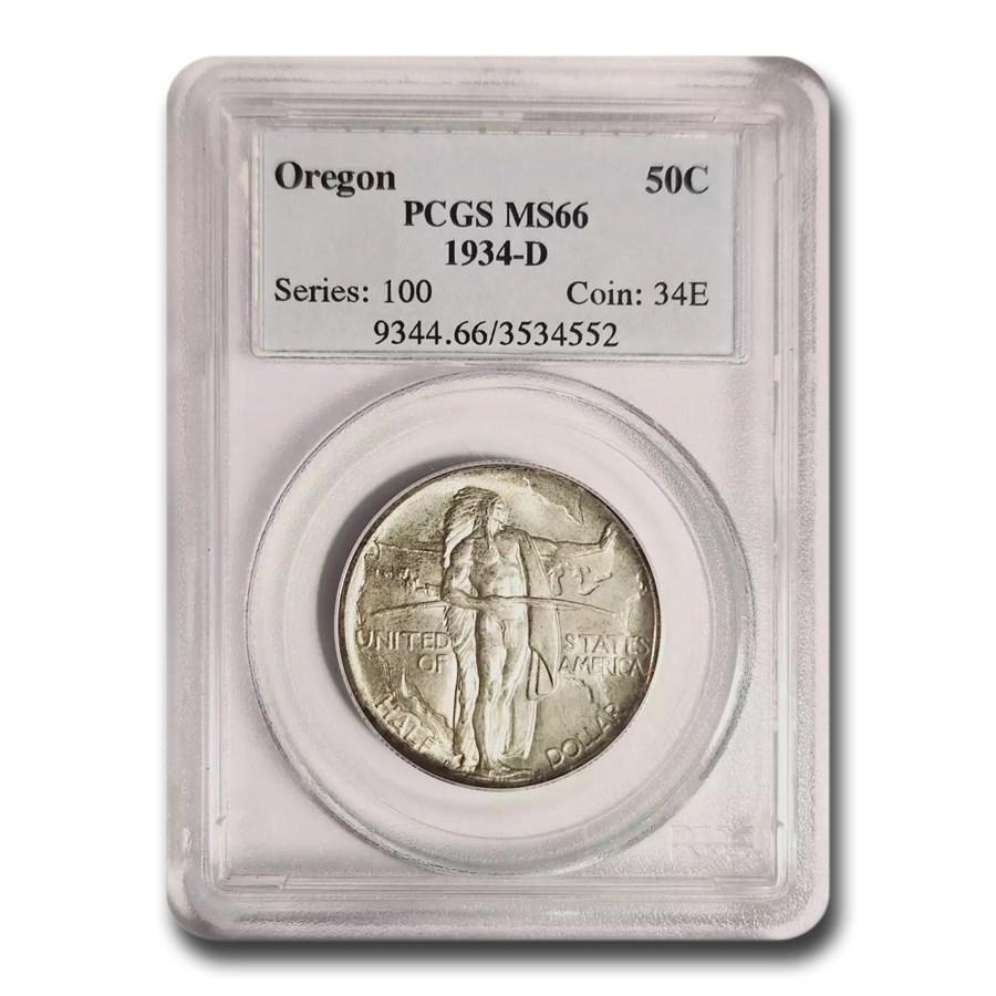 1934-D Oregon Trail Commemorative Half Dollar MS-66 PCGS