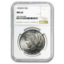 1934-D Peace Dollar MS-62 NGC