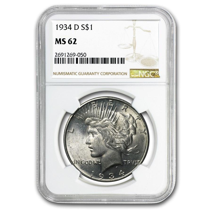 1934-D Peace Dollar MS-62 NGC