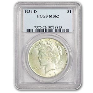 1934-D Peace Dollar MS-62 PCGS (VAM-3 Doubled Die Obv, Top-50)