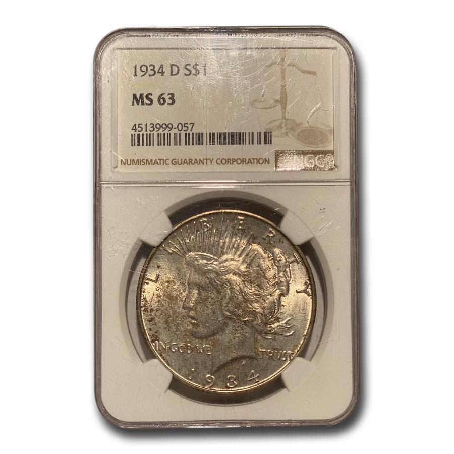 1934-D Peace Dollar MS-63 NGC