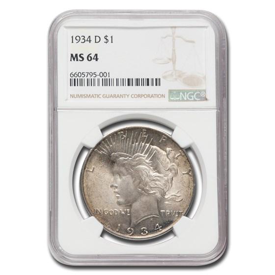 1934-D Peace Dollar MS-64 NGC