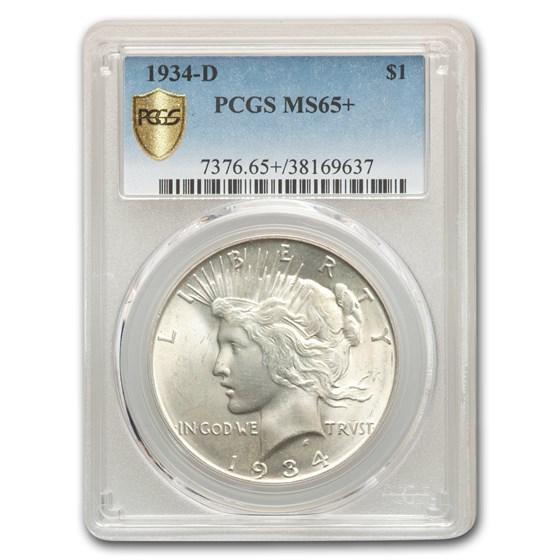 1934-D Peace Dollar MS-65+ PCGS