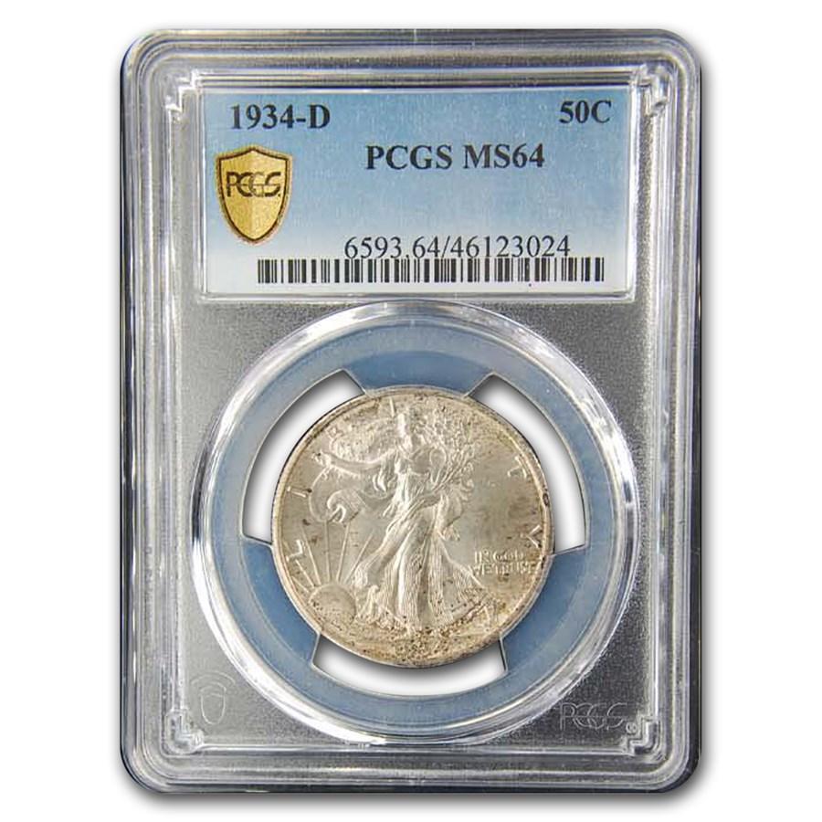 1934-D Walking Liberty Half Dollar MS-64 PCGS