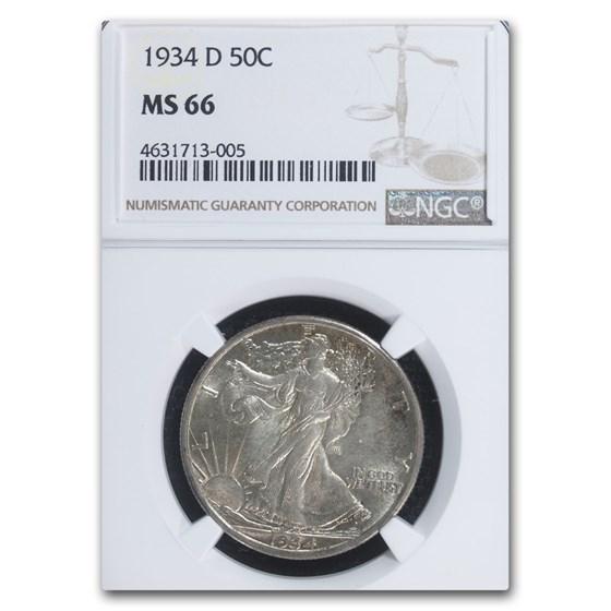 1934-D Walking Liberty Half Dollar MS-66 NGC