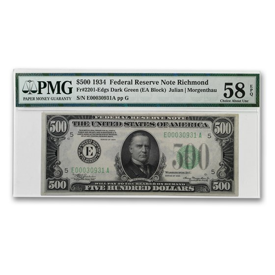 1934 (E-Richmond) $500 FRN AU-58 EPQ PMG