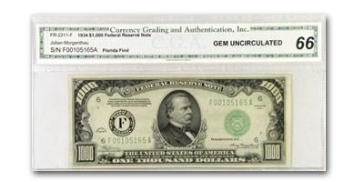 1934 (F-Atlanta) $1,000 FRN Gem Unc-66 CGA
