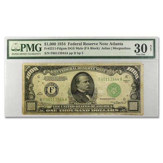 1934 (F-Atlanta) $1,000 FRN VF-30 PMG (Net)