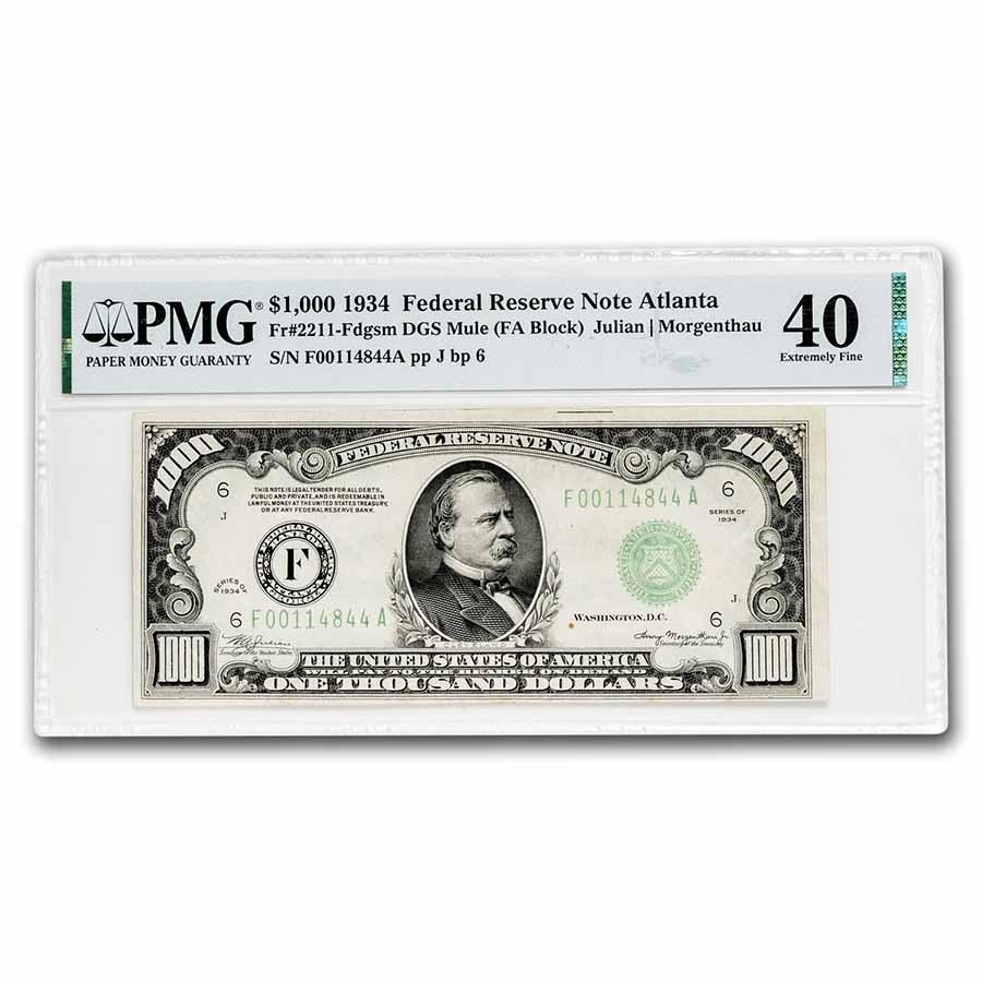 1934 (F-Atlanta) $1,000 FRN XF-40 PMG (Fr#2211-F) Mule